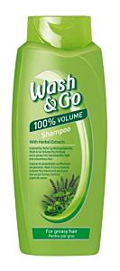 Sampon pentru par gras, cu extract de plante Wash&Go Volume Plus 750ml