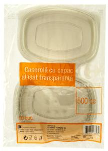 Caserola cu capac atasat, transparenta 500cc Carrefour 10buc