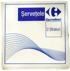 Servetele de masa Carrefour 2 straturi 33x33cm albe 50buc