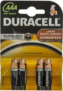 Baterii Alcaline AAA LR03 1.5V Duracell 4buc