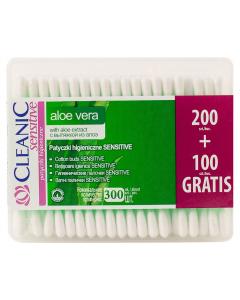 Betisoare cu aloe sensitive Cleanic 200+100buc gratis