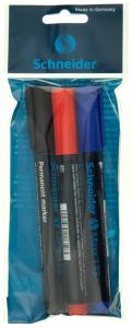 Marker permanent cu varf tesit 3 culori Schneider Maxx 133 3buc