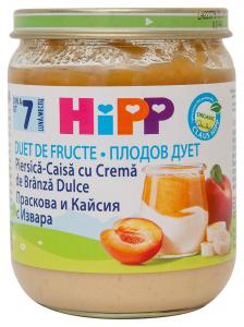 Piure piersica-caisa cu crema de branza dulce 7 luni+ Hipp 160g