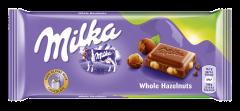 Ciocolata cu lapte si alune intregi Milka 100g