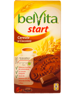 Biscuiti cu cereale integrale, cacao si bucatele de ciocolata Belvita Start 300g