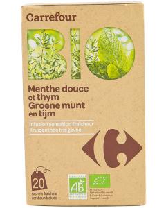 Ceai Bio preparat pentru infuzie din menta si cimbru Carrefour Bio 30g