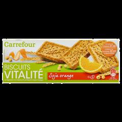 Biscuiti cu soia si portocala Carrefour 200g