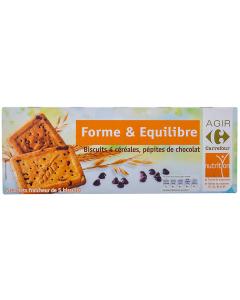 Biscuiti 4 cereale cu bucati de ciocolata Carrefour 200g