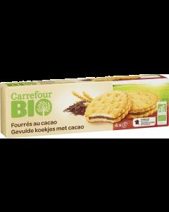 Biscuiti cu crema cacao 185g Carrefour Bio