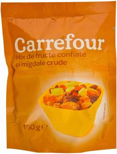 Mix de fructe confiate si migdale crude Carrefour 150g