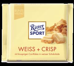 Ciocolata alba cu fulgi de porumb si orez Ritter Sport 100g