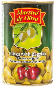Masline verzi umplute cu paprika Maestro de Oliva 314ml