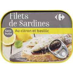 Sardine cu lamaie si busuioc Carrefour 100g