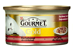 Hrana completa pt pisici cu carne de vita si pui Purina Gourmet Gold 85g