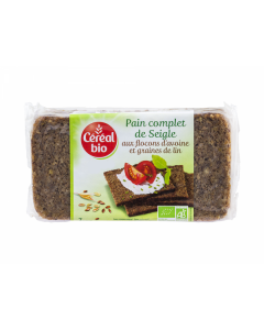 Paine bio integrala de secara cu fulgi de ovaz si seminte de in Cereal Bio 500g