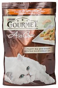 Hrana umeda cu curcan cu amestec de legume pentru pisici Gourmet A la Carte 85g