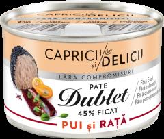 Pate cu ficat de pui si rata dublet 45% Capricii si delicii 145g