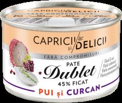 Pate cu ficat de pui si curcan dublet 45% Capricii si Delicii 145g