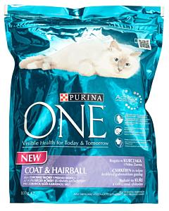 Hrana uscata pentru pisici adulte Purina One Coat&Hairball 800g