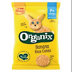 Rondele ecologice din orez expandat cu suc de banane si mere Organix Finger Foods 50g
