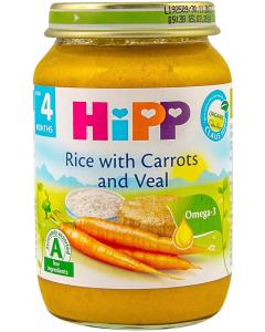 Orez cu morcovi si vitel Hipp de la 4 luni 190g