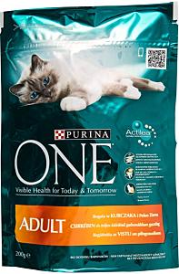 Hrana pentru pisici adulte cu pui si cereale Purina One Adult 200 g