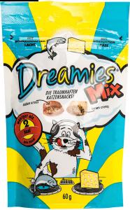 Hrana uscata pentru pisici cu somon savuros si branza delicioasa Dreamies 60g