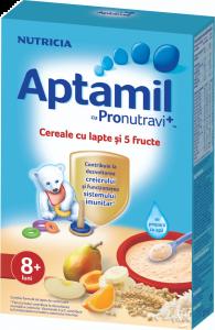 Cereale cu lapte si 5 fructe Nutricia Aptamil 225g