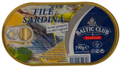 File de sardina in suc prorpiu ulei vegetal Baltic Club 190g
