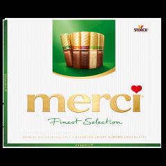 Specialitati de ciocolata asortata cu bucati de migdale Merci 250g