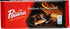 Ciocolata amaruie umpluta cu crema de caramel Poiana 90g