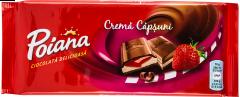 Ciocolata umpluta cu crema capsuni Poiana 90g