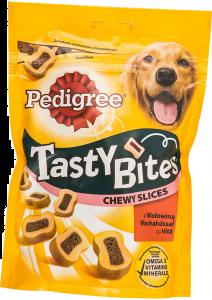 Hrana pentru caini adulti cu vita Tasty Bites Chewy Slices Pedigree  155 g