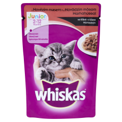 Hrana completa pentru pui de pisica cu vita Whiskas Junior 100 g