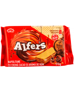 Napolitane cu crema cacao si aroma de rom Alfers 170g