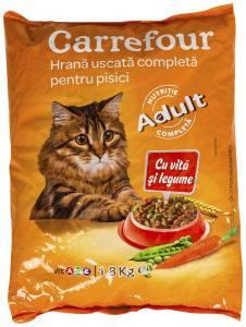 Hrana cu vita si legume pentru pisici Carrefour 1.8kg