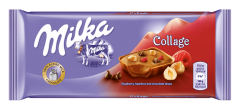 Ciocolata collage cu zmeura si alune Milka 93g