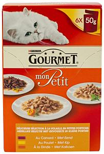 Mix de hrana umeda pisici cu pui Purina Gourmet 6x50G