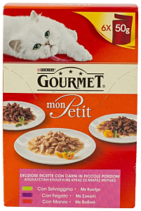 Mix hrana pisici cu vita si vanat Purina Gourmet 6x50G