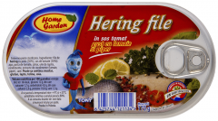 Hering file in sos tomat cu lamaie si piper Home Garden 170g