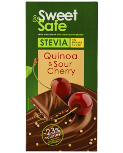 Ciocolata cu lapte Sweet & Safe Quinoa & Sour Cherry 90g