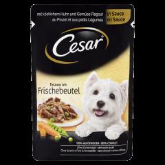 Hrana umeda cu pui si legume gustoase in sos pentru caini adulti Cesar 100g