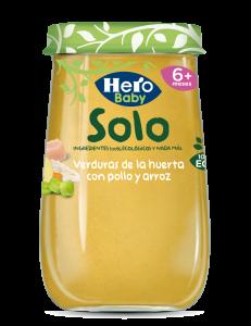 Piure Bio  de legume cu pui si orez Solo +6luni 190g Hero Baby