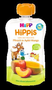 Piure ecologic cu mar, mango si piersica Hipp Hippis 100g