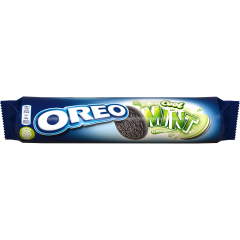 Biscuiti cu cacao si umplutura de crema cu aroma menta Oreo 154g
