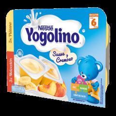 Gustare cu lapte cu banane si piersici Nestlé® Yogolino Creamy Duo 6x60g