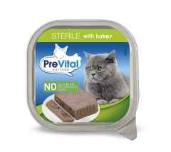 Hrana umeda cu curcan pentru pisici sterile Prevital 100g
