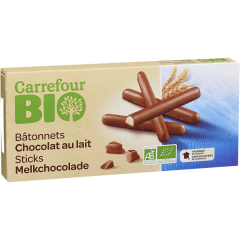 Bastonase cu ciocolata cu lapte Carrefour Bio 125g