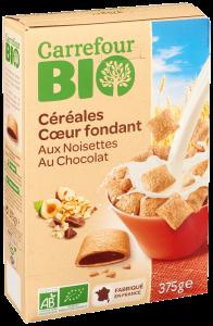 Cereale cu umplutura alune de padure si ciocolata Carrefour Bio 375g