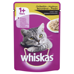 Hrana umeda cu pasare in sos de carne pentru pisici adulte Whiskas 100g